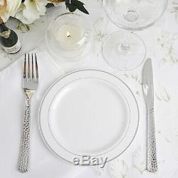 Plastique Blanc Avec Jante En Argent 6 Plaques Jetable Fête Mariage Vente En Gros