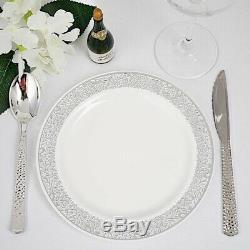 Plastique Blanc Avec Jante En Argent 7.5 Plaques Jetable Fête De Mariage