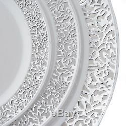 Plastique Blanc Avec Jante En Argent 7,5 Plaques Jetable Fête De Mariage Gros