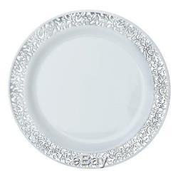 Plastique Blanc Avec Jante En Argent 9 Plaques Jetable Fête Mariage Vente En Gros