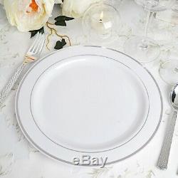 Plastique Blanc Rim Argent 10 Plates Party Vaisselle Jetable De Mariage Buffet
