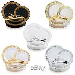 Plastique Jetables Vaisselle De Soirée De Mariage Paquet Dentelle Élégante De Jantes Plaques
