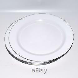 Plats De Dîner En Plastique Blancs De 160x 9 / 22.8cm Avec La Jante Argentée Résistante Jetable