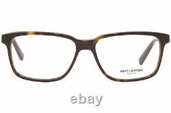 Saint Laurent Sl-458/f 002 Lunettes De Vue La Havane/argent Full Rim Square 55mm Pour Homme