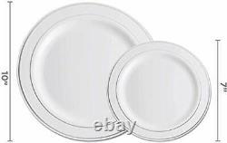 Set De Vaisselle En Argent 600 Pièces-100 Argent Rim 10 Pouces Plaques En Plastique 100 Argent