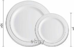 Set De Vaisselle En Argent De 600 Pièces -100 Rim 10 Pouces En Plastique