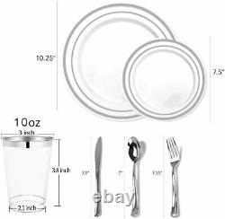 Set De Vaisselle En Argent De 700 Pièces 200 Rim Plaques En Plastique