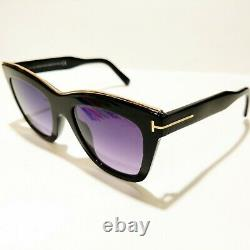 T.n.-o.- Tom Ford Julie Tf685 01c Lunettes De Soleil Black Gold Trim Cateye Full Rim With Case