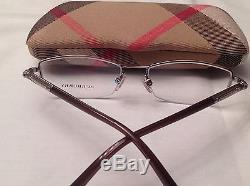 Vente! Burberry B1197 1110 52-17-135 Etui À Lunettes Pour Lunettes À Demi-marron Argent Brillant