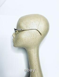 Versace Silver Metal Half Rim Rectangular Frame Glasses Italie Mod 1066 50 18 135