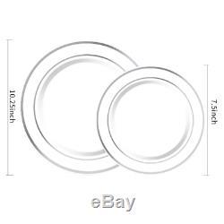 Wdf 120pcs Argent En Plastique Jetables Plaques Plaques En Plastique Avec De L'argent Rim