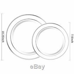Wdf 120pcs Argent En Plastique Plaques Jetables Avec Rim- De Soirée De Mariage Dont 60